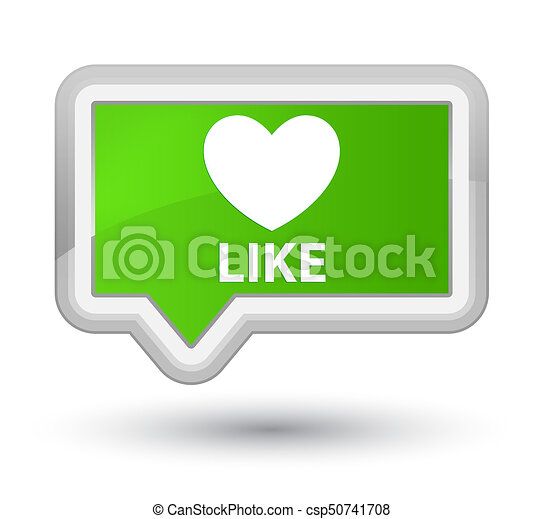Like (heart icon) prime soft green banner button - csp50741708