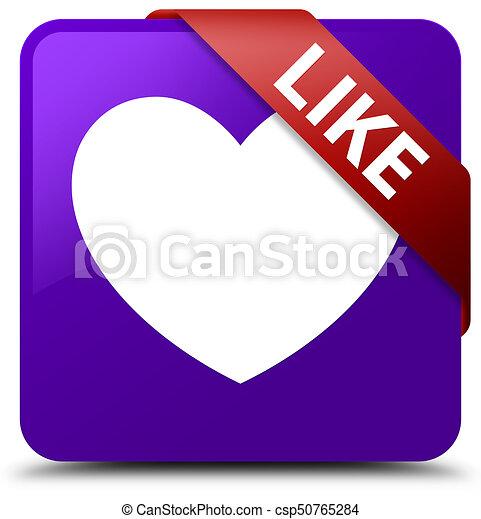 Like (heart icon) purple square button red ribbon in corner - csp50765284