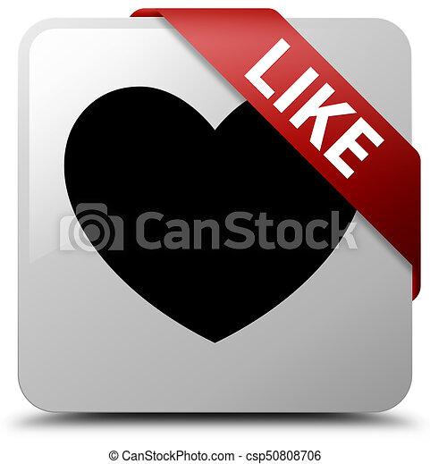 Like (heart icon) white square button red ribbon in corner - csp50808706