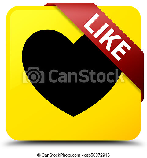 Like (heart icon) yellow square button red ribbon in corner - csp50372916