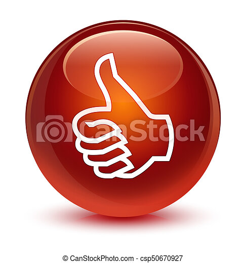 Like icon glassy brown round button - csp50670927