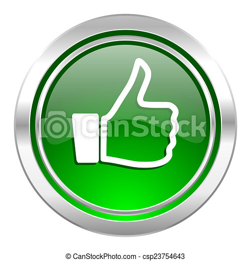 like icon, green button, thumb up sign - csp23754643