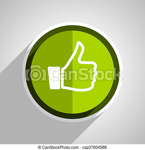 like icon, green circle flat design internet button, web and mobile app illustration - csp37604588