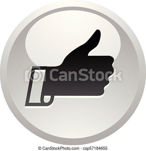 Like, icon on round gray button - csp57184655