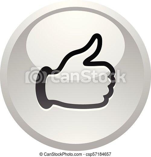 Like, icon on round gray button - csp57184657