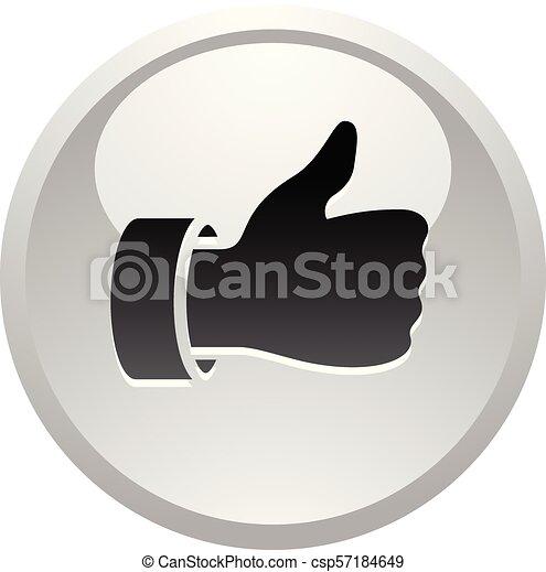 Like, icon on round gray button - csp57184649