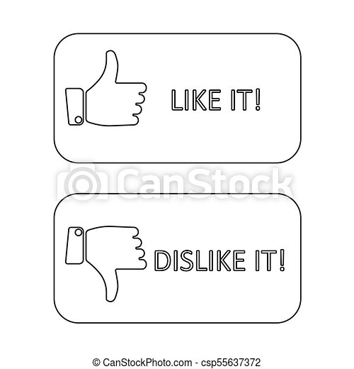 Like It And Dislike Symbol Line Style Button Isolated Like It And