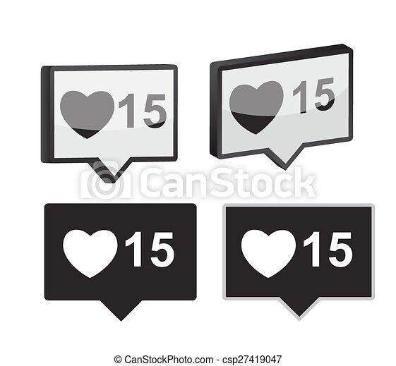 Like Notification Icon Vector Illustration - csp27419047