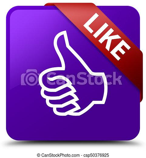Like purple square button red ribbon in corner - csp50376925