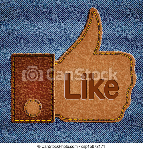 Like sign. Leather Thumbs up symbol on blue jeans background - csp15872171