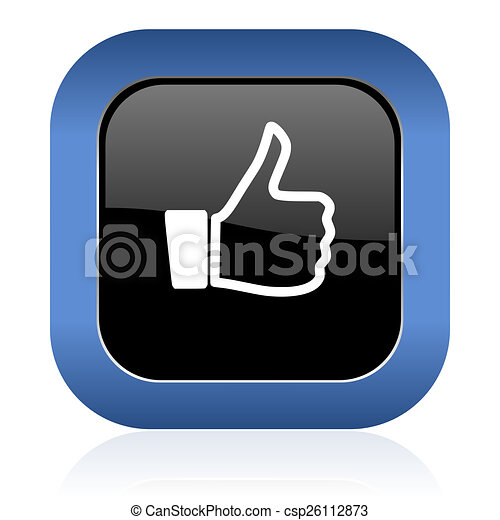 like square glossy icon thumb up sign - csp26112873