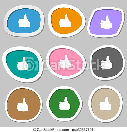Like, Thumb up icon symbols. Multicolored paper stickers.  - csp32557191