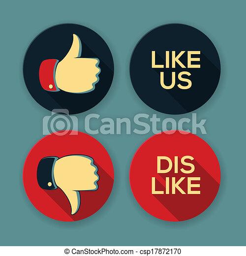 Like Us And Dislike Symbols Thumbs Up And Thumbs Down Vectors