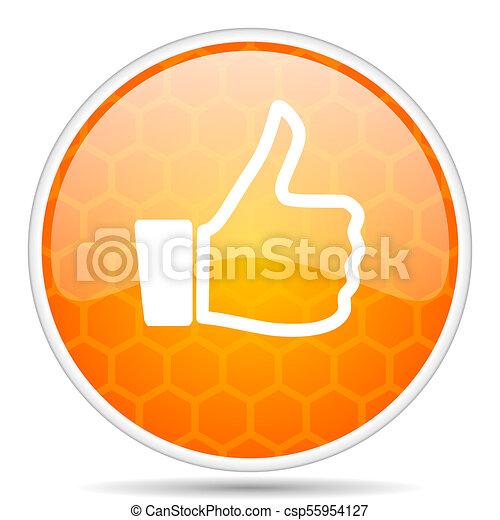 Like web icon. Round orange glossy internet button for webdesign. - csp55954127