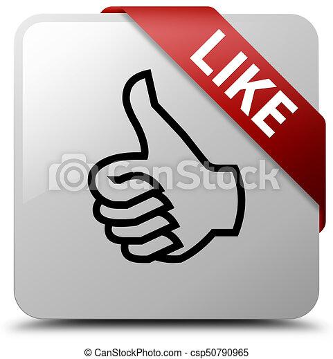 Like white square button red ribbon in corner - csp50790965
