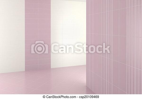 lila, badezimmer, modern, fliesenmuster, leerer