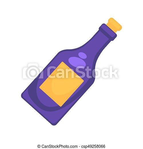 Lila, farbige flasche. Goldenes, gefärbt, lila, freigestellt ...