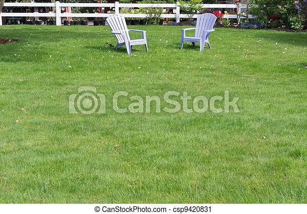 lila, stühle, rasen, grün, zwei - csp9420831