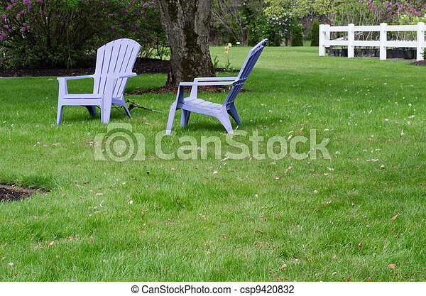 lila, stühle, rasen, grün, zwei - csp9420832