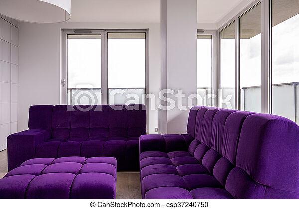 Lila, wohnzimmer, möbel. Wohnzimmer, lila, bild, moderne möbel.