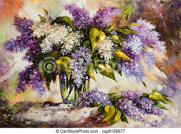 Lilac bouquet in a vase - csp8126677
