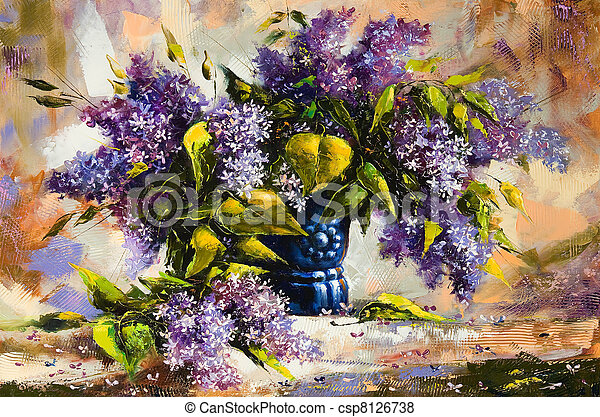 Lilac bouquet in a vase - csp8126738