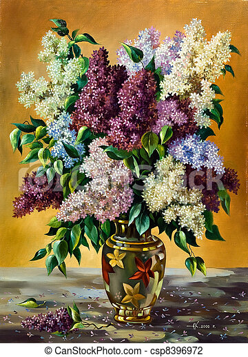 Lilac bouquet in a vase - csp8396972