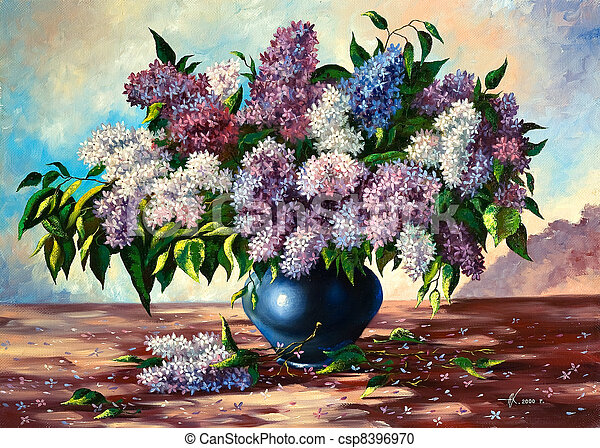 Lilac bouquet in a vase - csp8396970