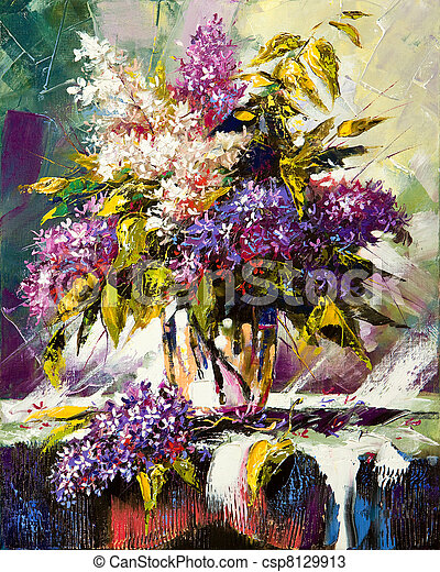 Lilac bouquet in a vase - csp8129913