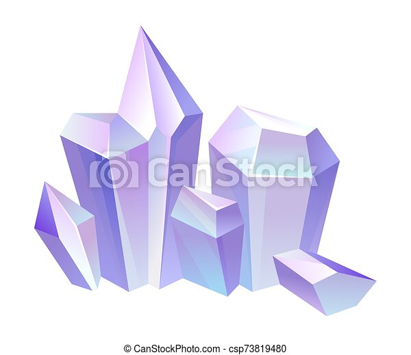 Lilac crystals. Vector illustration on a white background. - csp73819480