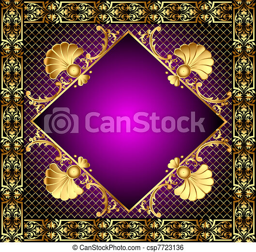 lilac frame with vegetable and gold(en) pattern - csp7723136