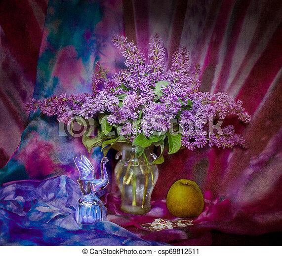 lilac in a vase, still life - csp69812511