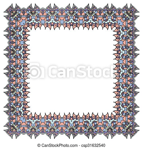 Lilac vector frame. Isolated square element. - csp31632540
