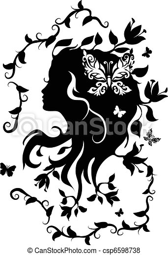 lilia, kobieta, zdrój, rysunek - csp6598738