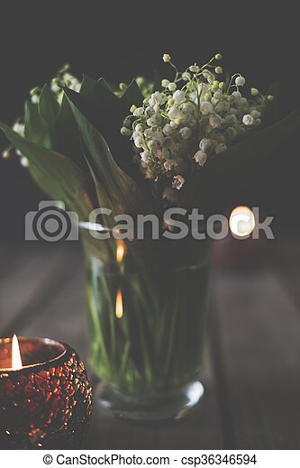 lilies of the valley in a vase - csp36346594
