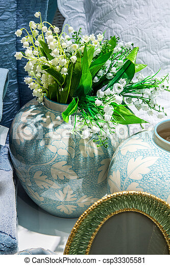 Lilies of the valley in vase - csp33305581