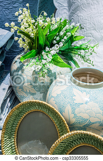 Lilies of the valley in vase - csp33305555