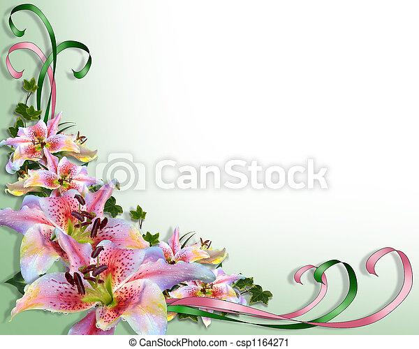liljor, bröllop, asiat, inbjudan - csp1164271