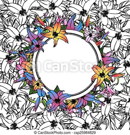 Lily Flower Round Frame - csp25984829