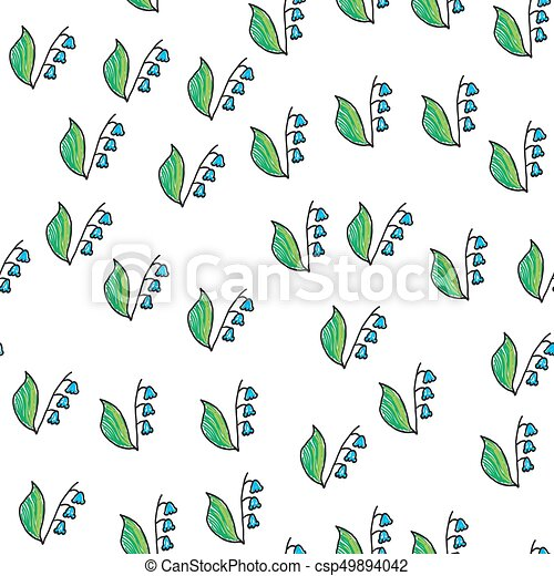 Lily of the valley. Seamless pattern. vector illustration. - csp49894042