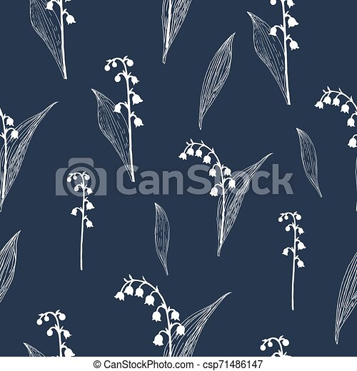 Lily of the valley seamless pattern - csp71486147