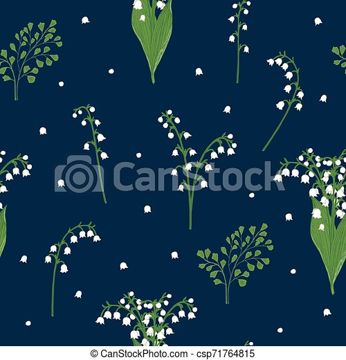 Lily of the valley seamless pattern - csp71764815