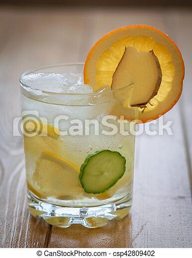 limão, gengibre, laranja, cucumber., água, raiz, gelo - csp42809402
