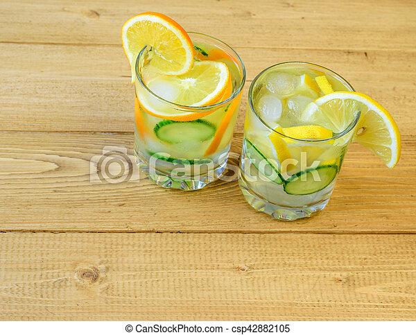 limão, gengibre, laranja, cucumber., água, raiz, gelo - csp42882105