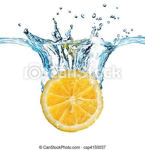 limón, aislado, agua, salpicadura, caído, fresco, blanco - csp4150037