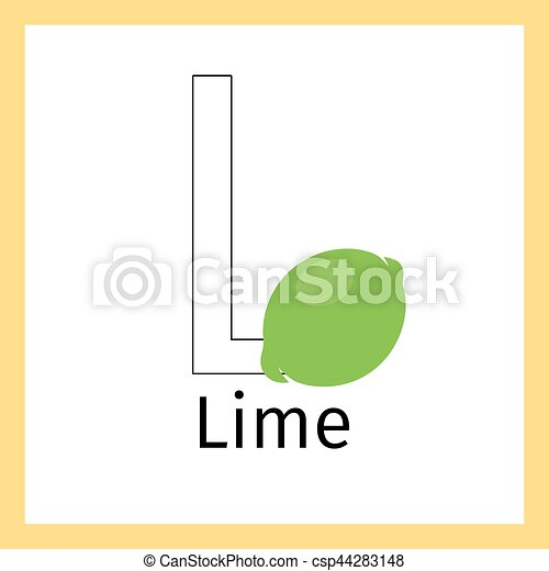 Lime and letter l coloring page Kids education card with eps