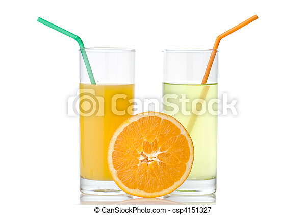lime and orange juice with orange isolated on white - csp4151327