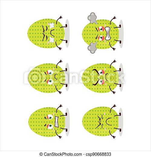 Lime easter egg cartoon character with various angry expressions - csp90668833