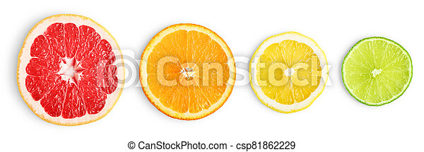 Lime, grapefruit, orange and lemon slices - csp81862229