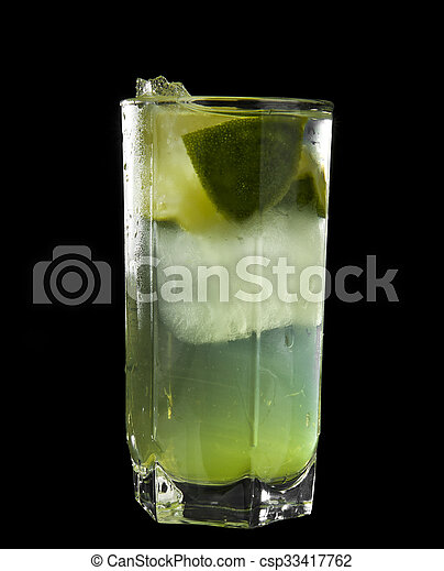 lime juice in a glass - csp33417762